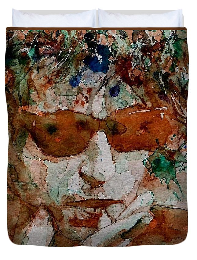 Bob Dylan Duvet Cover featuring the painting Just Like A Woman by Paul Lovering