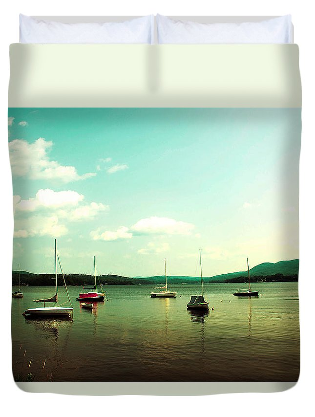 Boats Duvet Cover featuring the photograph Just Sail Boats by Sherman Perry