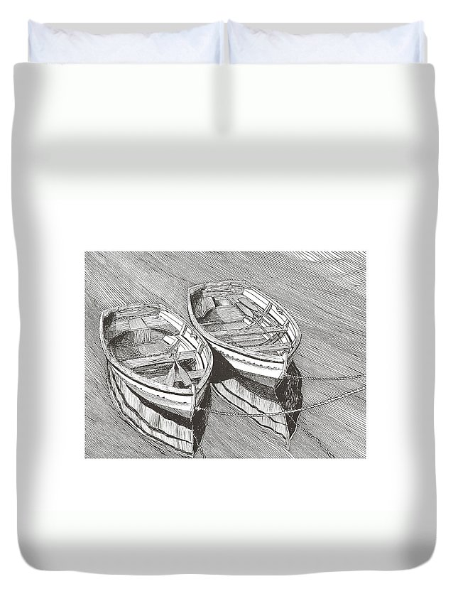 Pen @ Ink Dinghy Art Duvet Cover featuring the drawing Two Dinghy Friends Just The Two Of Us by Jack Pumphrey