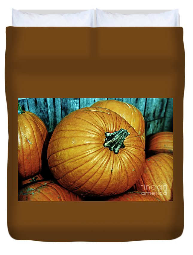 Pumpkin Duvet Cover featuring the photograph Just Waiting To Be Pie by Kevin Fortier
