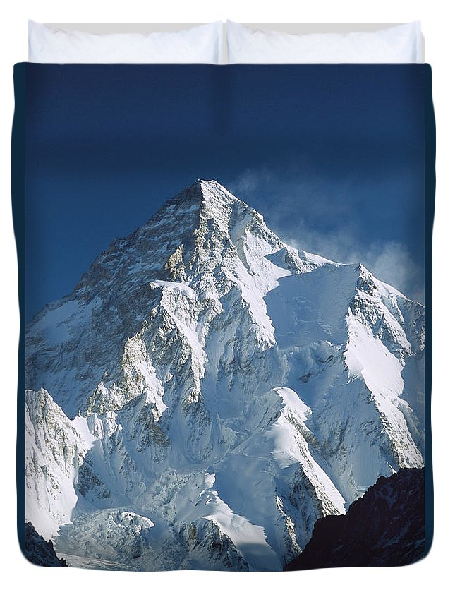 Feb0514 Duvet Cover featuring the photograph K2 At Dawn Pakistan by Colin Monteath