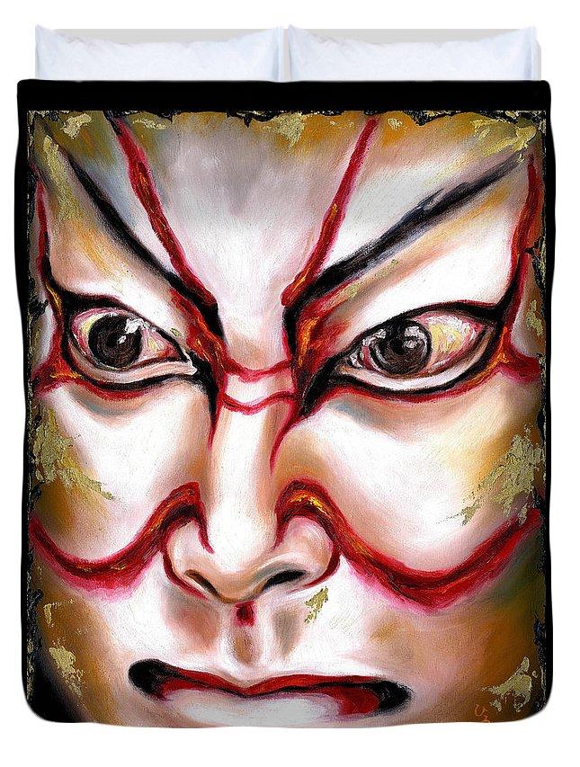 Kabuki Duvet Cover featuring the painting Kabuki One by Hiroko Sakai