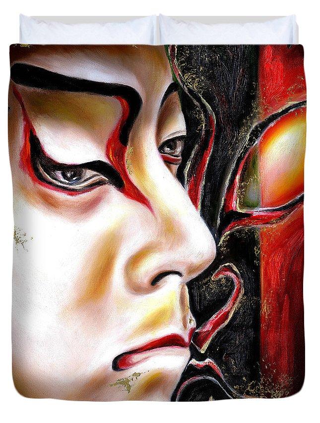 Kabuki Duvet Cover featuring the painting Kabuki Three by Hiroko Sakai