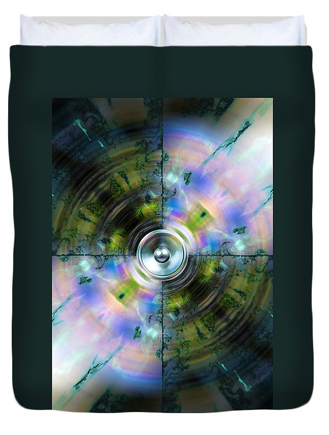 Green Duvet Cover featuring the digital art Kaleido 6 by Steve Ball