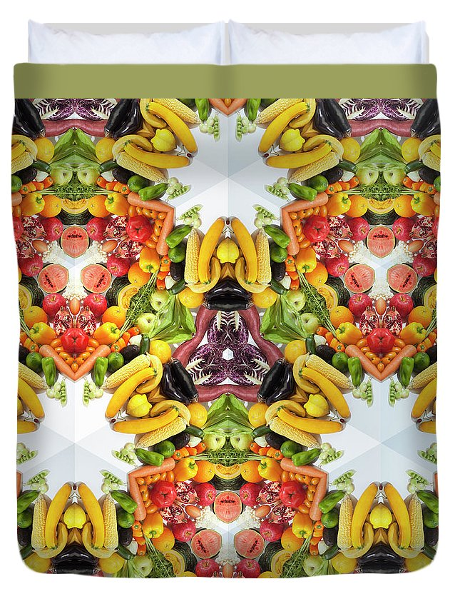 Full Frame Duvet Cover featuring the photograph Kaleidoscope Of Colorful Vegetables And by Hiroshi Watanabe