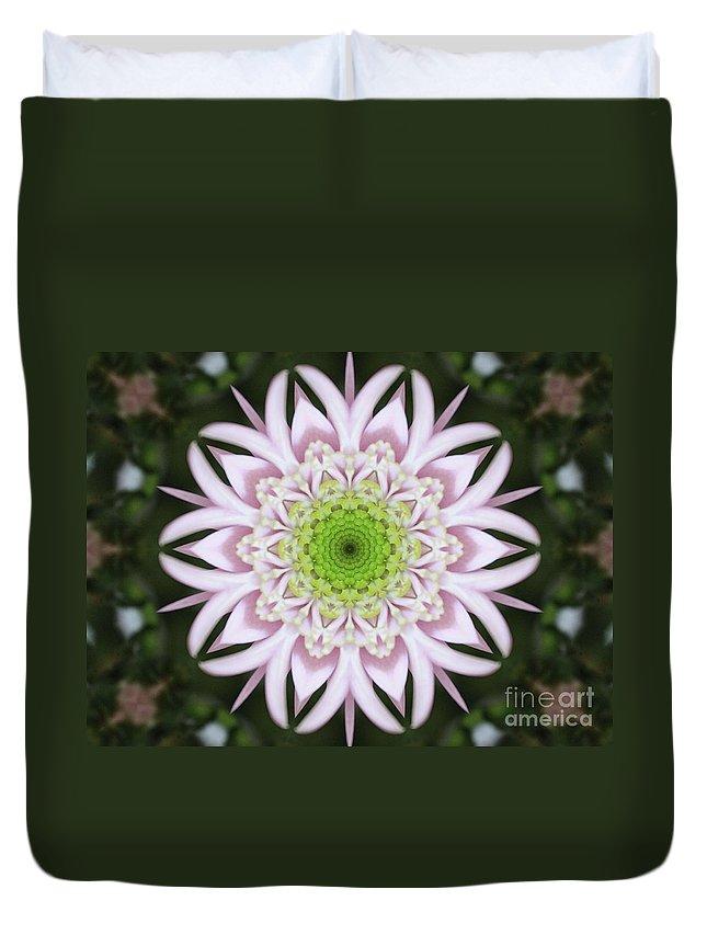Kaleidoscope Duvet Cover featuring the photograph Kaleidoscope Pink Daisy by Carol Groenen