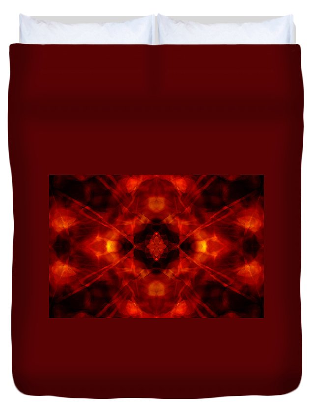 Disco Duvet Cover featuring the digital art Kaleidoscope Red by Steve Ball