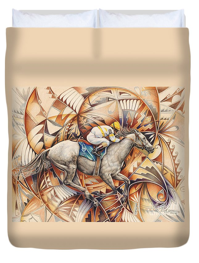 Colored-pencil Duvet Cover featuring the painting Kaleidoscope Rider by Ricardo Chavez-Mendez
