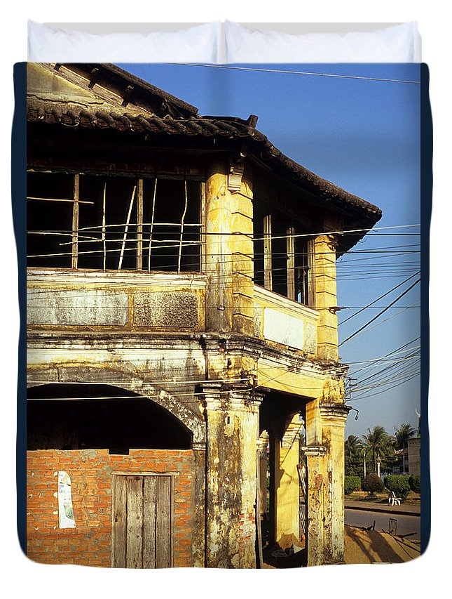 Cambodia Duvet Cover featuring the photograph Kampot Old Colonial 03 by Rick Piper Photography