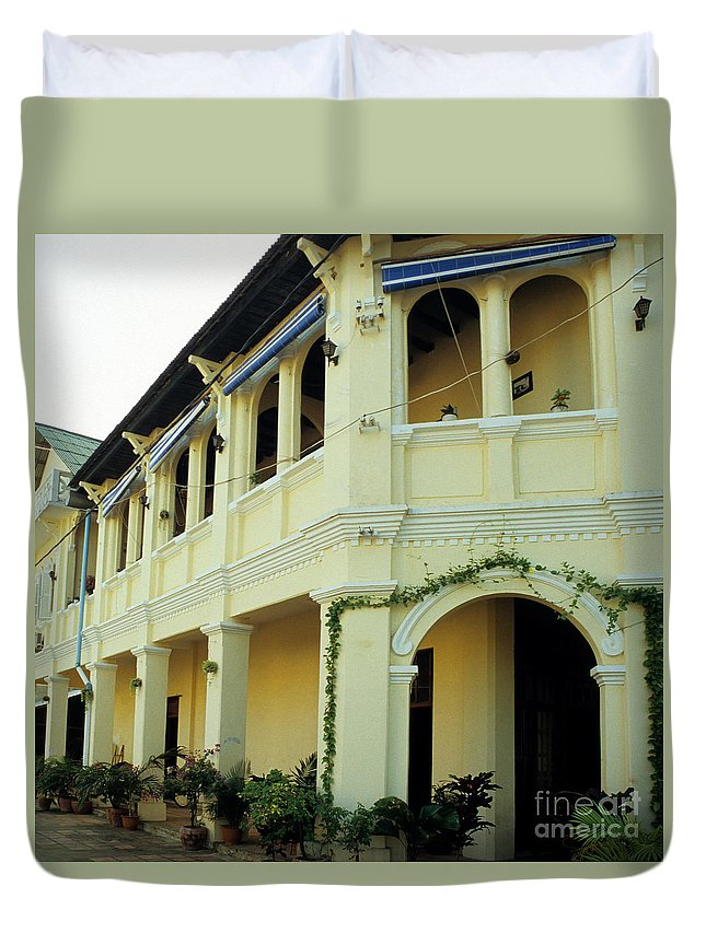 Cambodia Duvet Cover featuring the photograph Kampot Old Colonial 08 by Rick Piper Photography