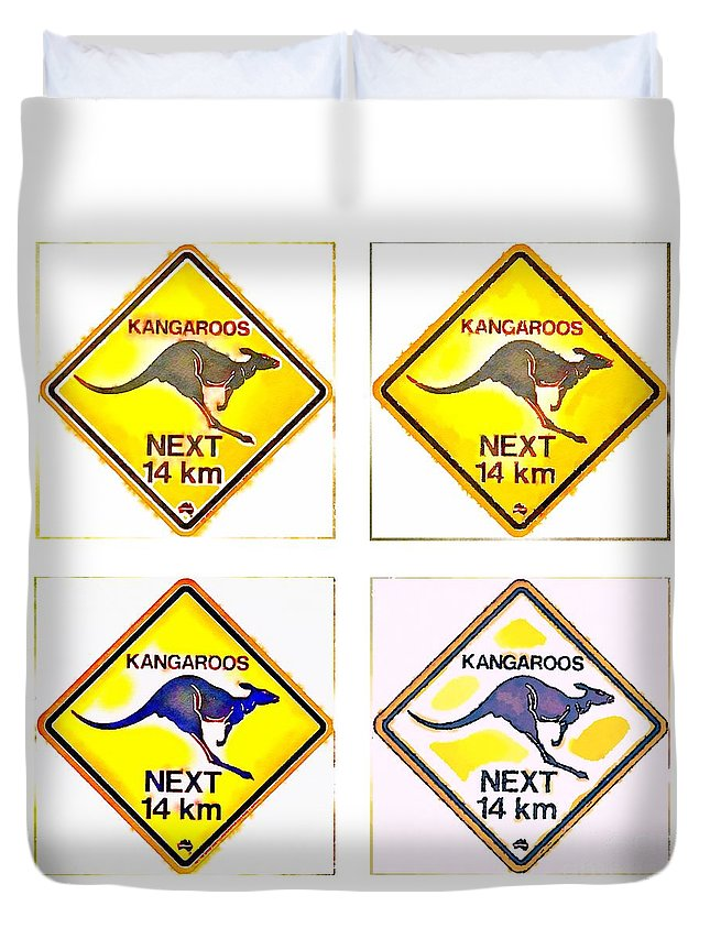 Kangaroo Duvet Cover featuring the painting Kangaroos Road Sign Pop Art by HELGE Art Gallery