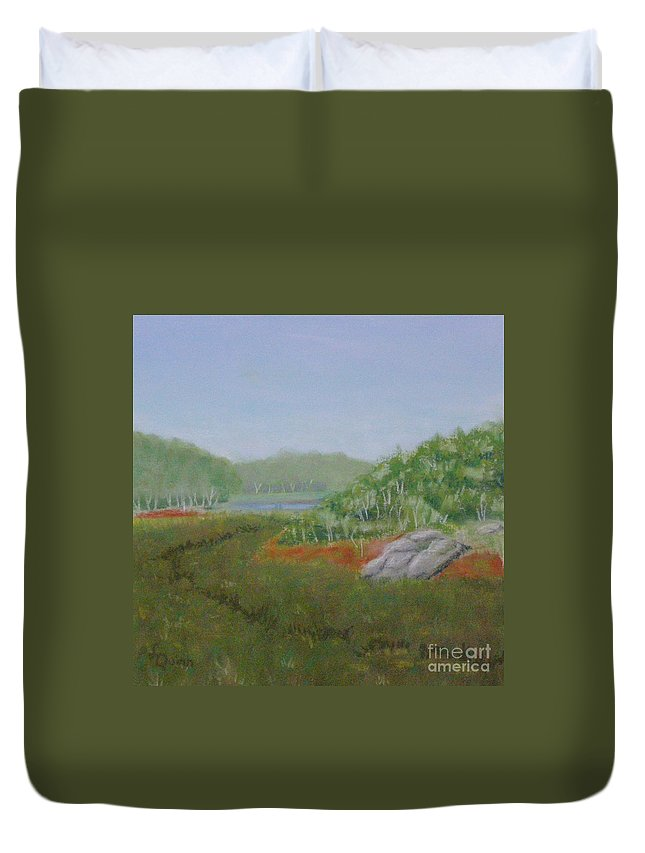 Landscape Duvet Cover featuring the painting Kantola Swamp by Lynn Quinn