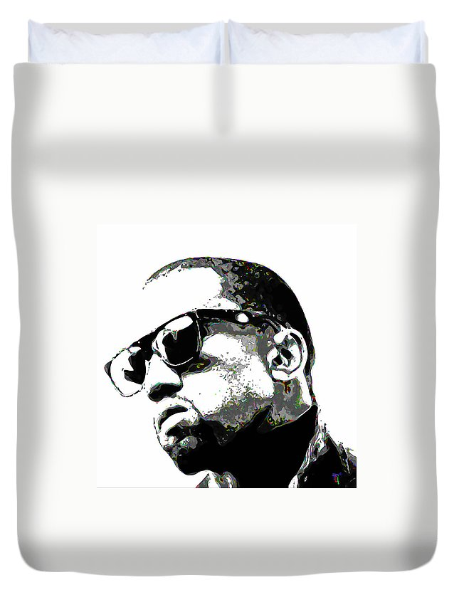 Face Duvet Cover featuring the painting Kanye West by Fli Art
