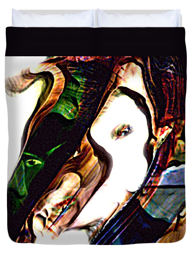 Abstract Duvet Cover featuring the digital art Kao by Richard Thomas