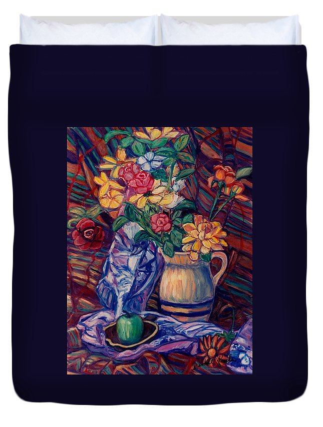 Still Life Duvet Cover featuring the painting Karens Gift by Kendall Kessler