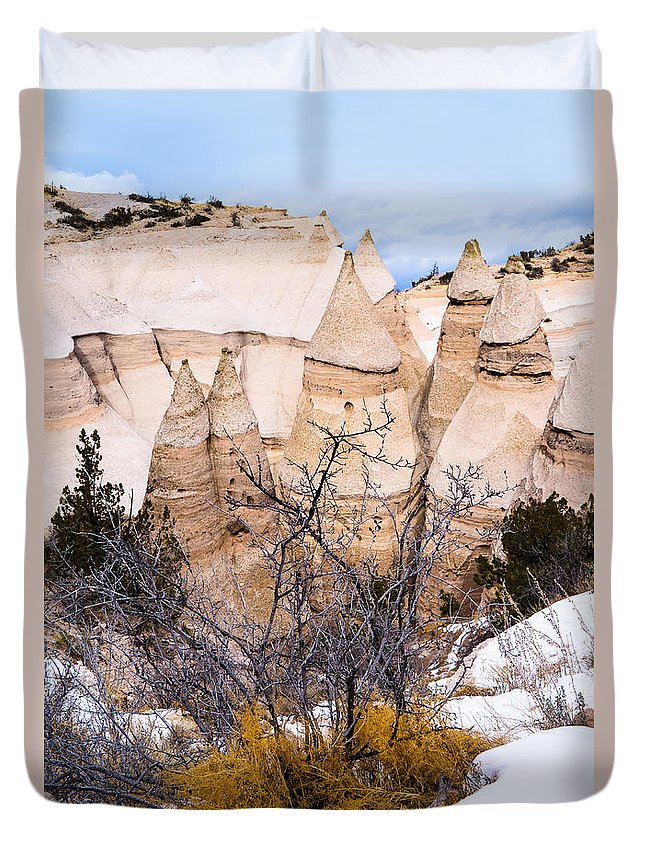 Albuquerque Duvet Cover featuring the photograph Kasha Katuwe Tent Rocks In The Winter Snow by Ellie Teramoto