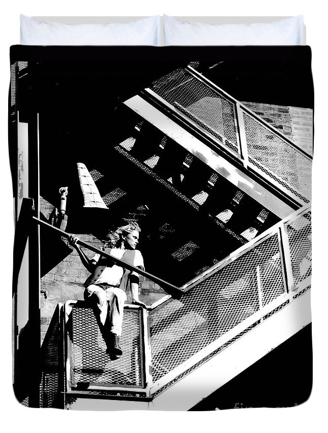 Gary Gingrich Duvet Cover featuring the photograph Katie-fire Escape by Gary Gingrich Galleries