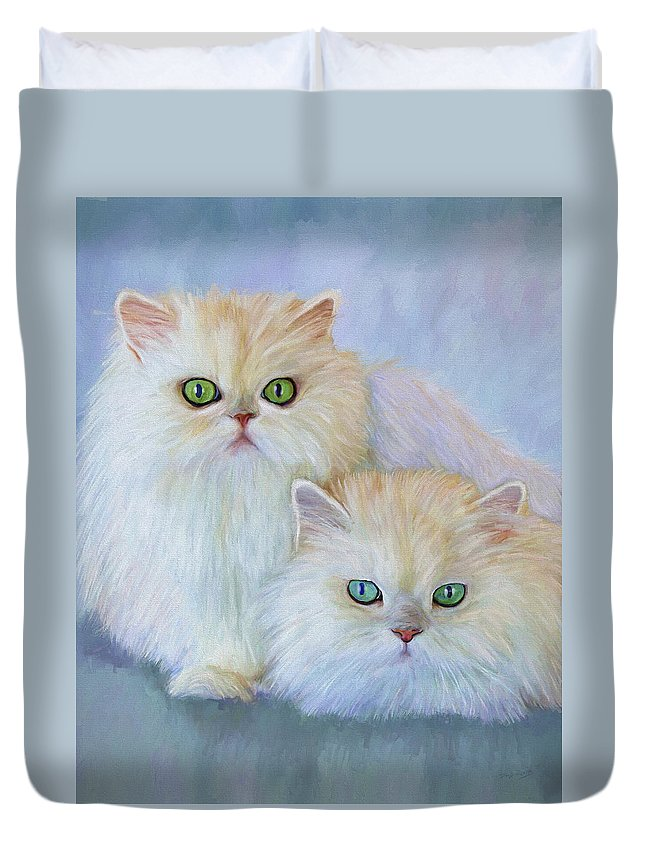Cat Duvet Cover featuring the painting Katrina And Bjorn by David Wagner
