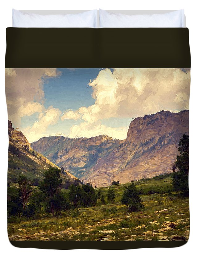 Ruby Mountains Duvet Cover featuring the mixed media Katy's View by John K Woodruff
