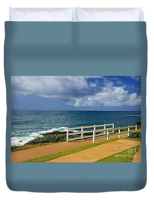 Pacific Duvet Cover featuring the photograph Kauai Beach - Morning Storm by Barbara Zahno