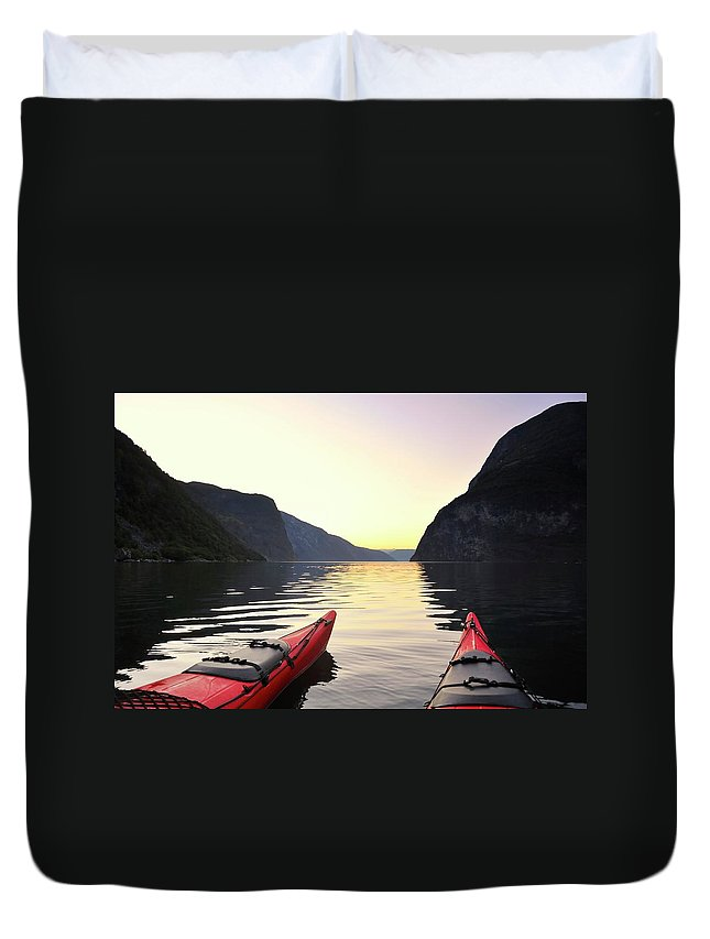 Scenics Duvet Cover featuring the photograph Kayak In Norway by Sjo