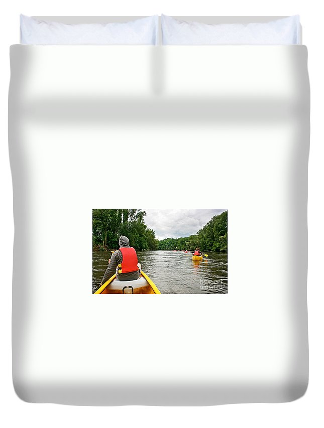 River Duvet Cover featuring the photograph Kayaking by JR Photography