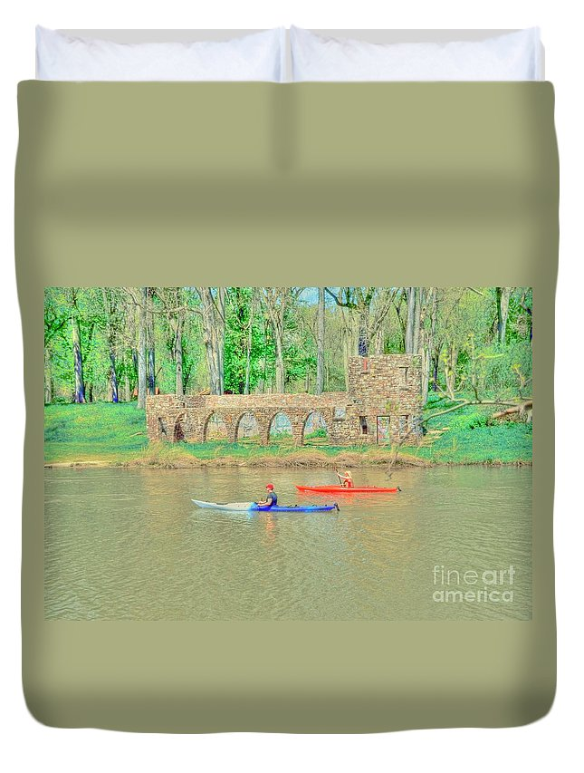 Kayak Duvet Cover featuring the photograph Kayaks by Kathleen Struckle