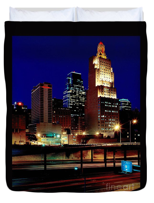 Gary Gingrich Duvet Cover featuring the photograph Kcpl Kansas City Skyline-1990 by Gary Gingrich Galleries