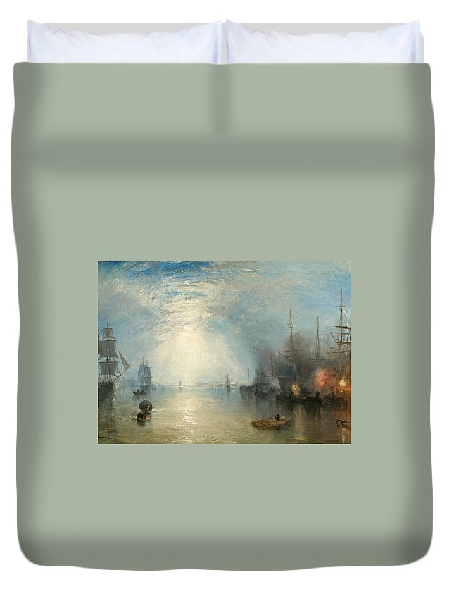 Shipping; Industry; Coal; Fire; Night; Moon; Sailing; Sail; Boat; Burning; Coal; Kealboat; Keels; Cargo Duvet Cover featuring the painting Keelmen Heaving In Coals By Moonlight by Joseph Mallord William Turner
