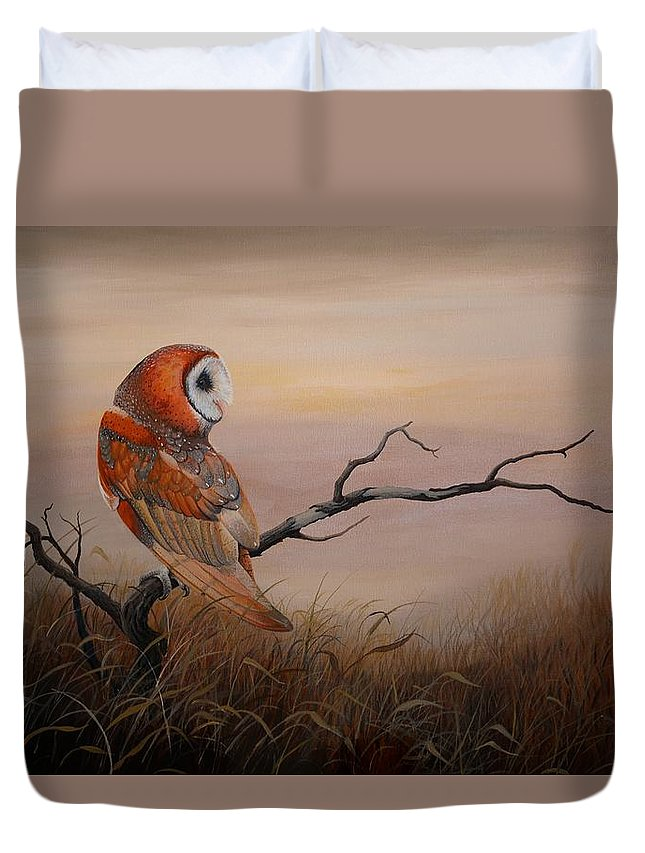 Barn Owl Duvet Cover featuring the painting Keeper Of Dreams by Charles Owens