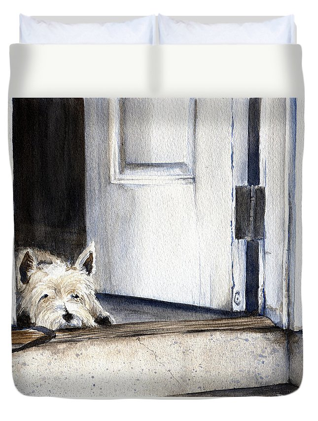 Watercolor Duvet Cover featuring the painting Keeping Watch by Michelle Sheppard