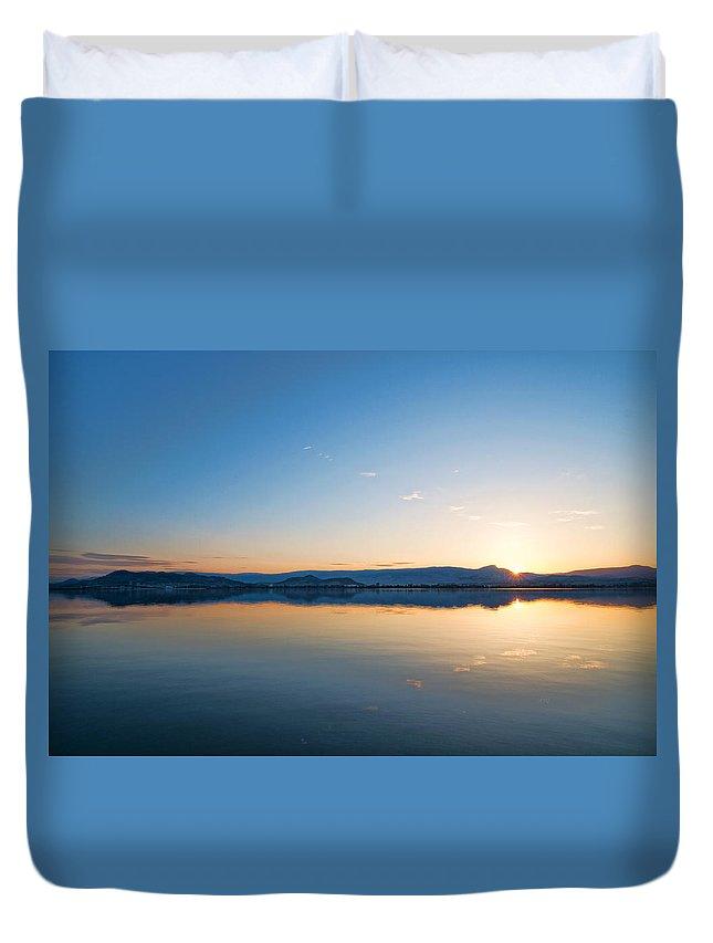 Reflections Duvet Cover featuring the photograph Kelowna Horizon Twin Suns by Allan Van Gasbeck