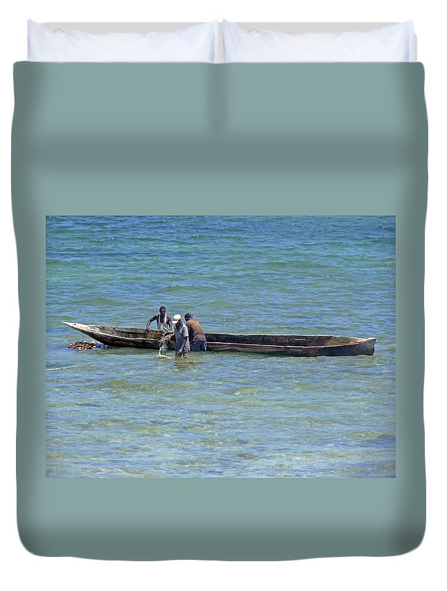 Kenyan Fishermen Duvet Cover featuring the photograph Kenyan Fishermen by Tony Murtagh