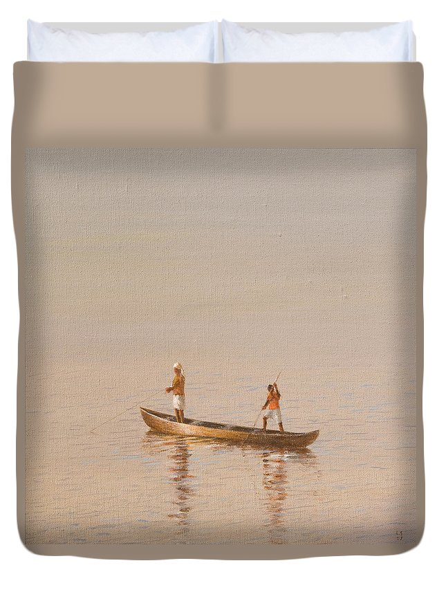 Fishing; Boat; Fisherman; Catching Fish; Working; Indian; India Duvet Cover featuring the painting Kerala Fishermen by Lincoln Seligman