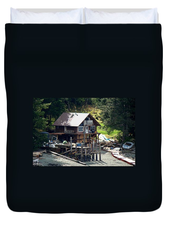 Ketchikan Duvet Cover featuring the photograph Ketchikan Buildings With Character 2 by Richard Rosenshein