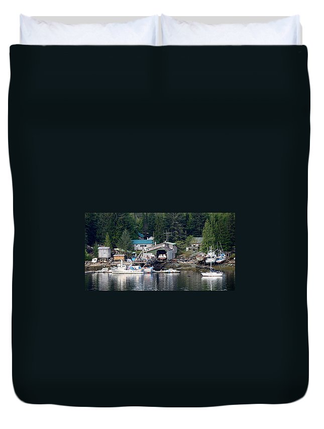 Ketchikan Duvet Cover featuring the photograph Ketchikan Buildings With Character 1 by Richard Rosenshein
