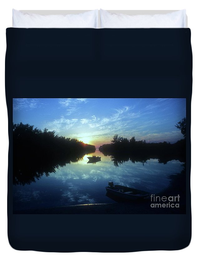 Key Biscayne Sunset Duvet Cover featuring the photograph Key Biscayne Sunset 2 by Allen Beatty