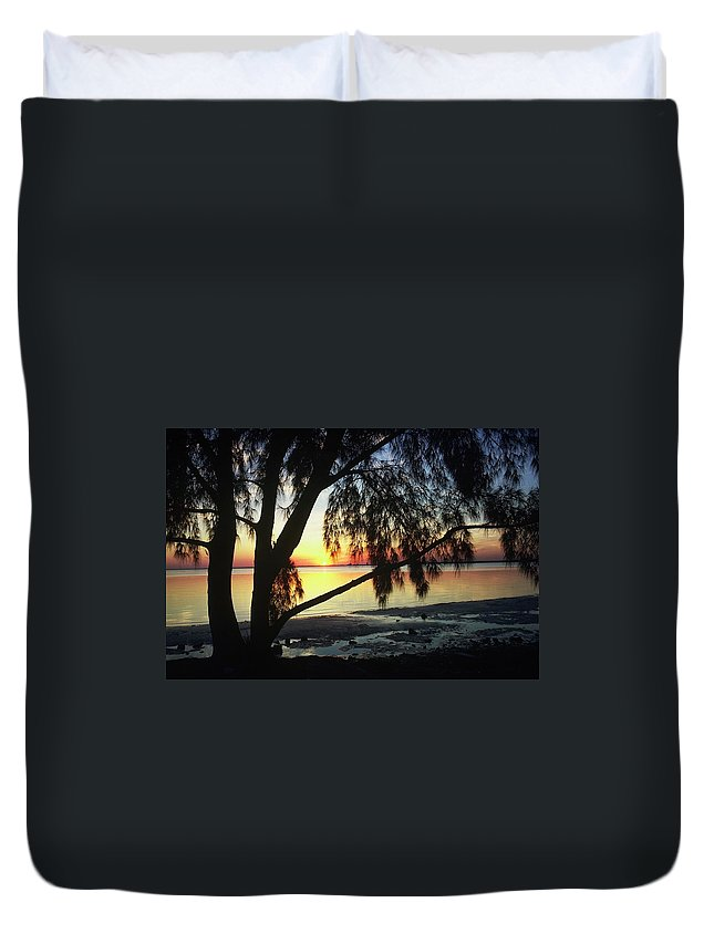 Key Biscayne Sunset Duvet Cover featuring the photograph Key Biscayne Sunset by Allen Beatty