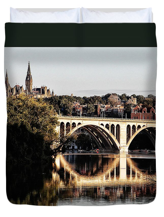 Key Duvet Cover featuring the photograph Key Bridge And Georgetown University Washington Dc by Bill Cannon