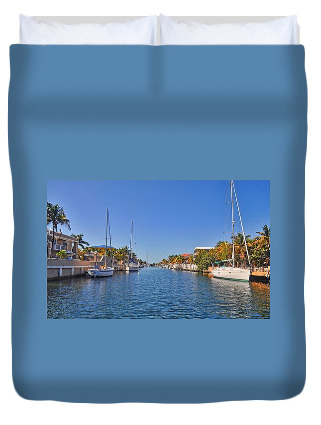 Key Largo Duvet Cover featuring the photograph Key Largo Canal 3 by Chris Thaxter