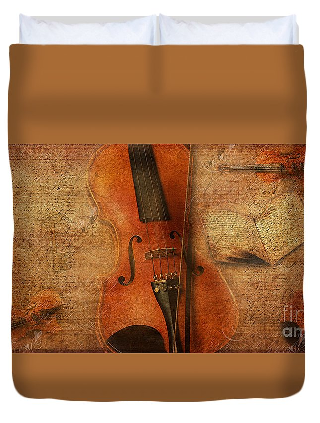 Violins Duvet Cover featuring the digital art Key To The Soul by Erika Weber
