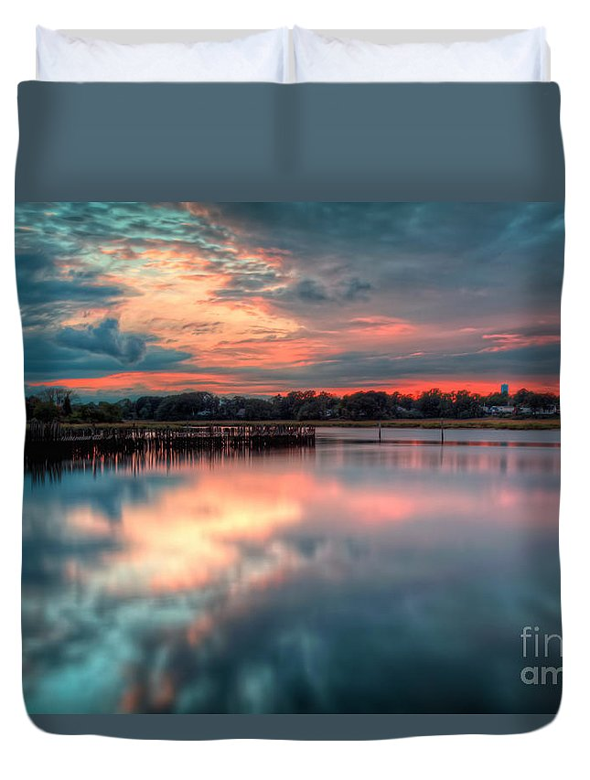 Hdr Duvet Cover featuring the photograph Keyport Nj Sunset Reflections by Michael Ver Sprill