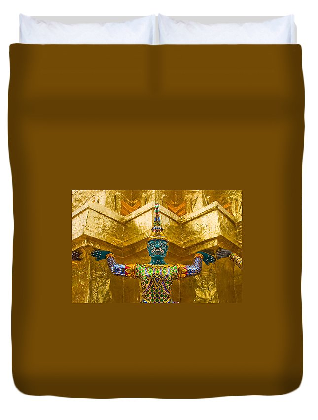 3scape Duvet Cover featuring the photograph Khon Guard by Adam Romanowicz