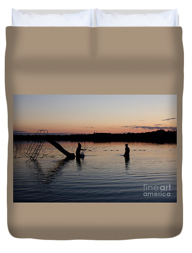 Ice Duvet Cover featuring the photograph Kid Sliding by Cassie Marie Photography