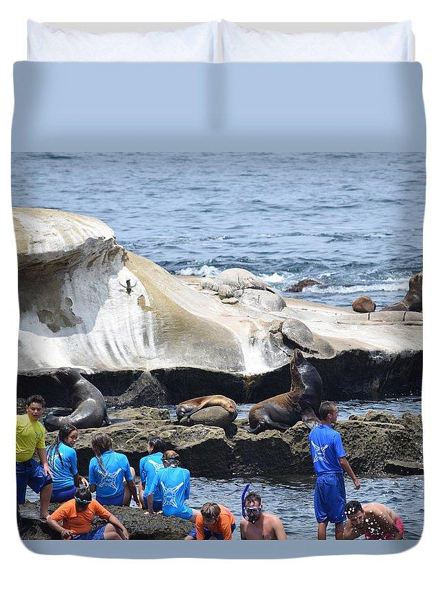 Kids Duvet Cover featuring the photograph Kids And Sea Lions by Steve Scheunemann