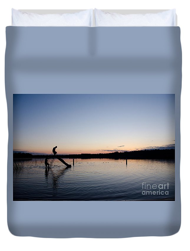 Ice Duvet Cover featuring the photograph Kids On The Slide by Cassie Marie Photography