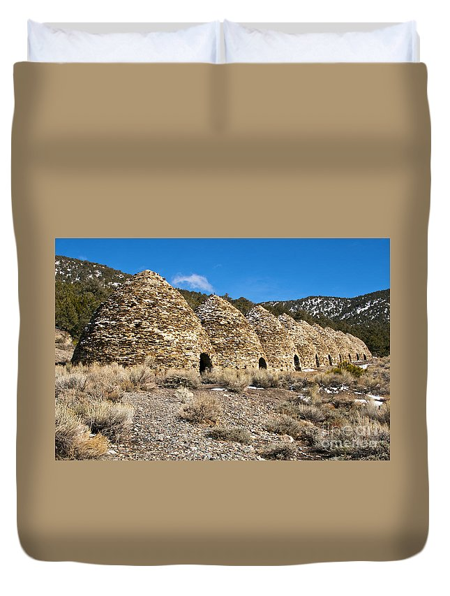 Charcoal Kiln Kilns Mountain Mountains Rock Rocks Snow Death Valley National Park Parks Desert Deserts Desertscape Desertscapes Landscape Landscapes Duvet Cover featuring the photograph Kiln Row by Bob Phillips