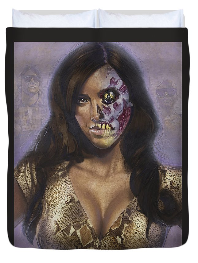 Portrait Duvet Cover featuring the painting Kim Kardashian - They Live by T M Rhyno