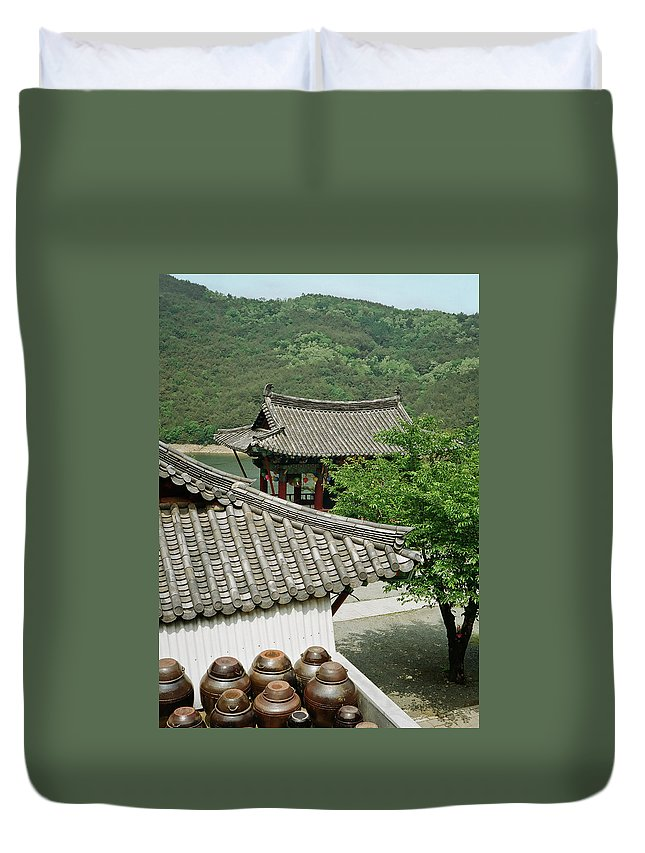 Tranquility Duvet Cover featuring the photograph Kimchi Pots, Tiles And Lanterns by Mimyofoto - Serge Lebrun