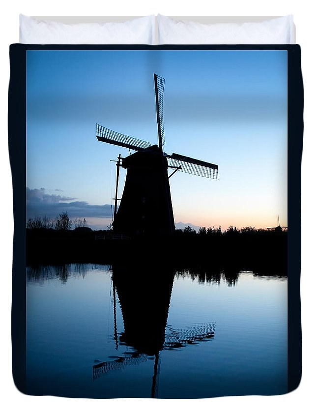 Kinderdijk Duvet Cover featuring the photograph Kinderdijk Dawn by Dave Bowman